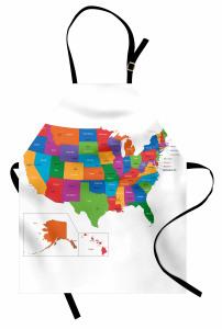 ABD Haritası Desenli Mutfak Önlüğü Rengarenk Coğrafya