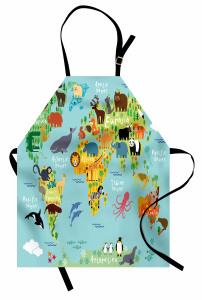Hayvan Haritası Desenli Mutfak Önlüğü Çocuklar İçin
