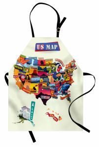 Rengarenk ABD Haritası Mutfak Önlüğü Coğrafya