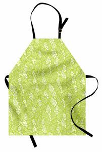 Bahar Temalı Mutfak Önlüğü Yaprak Desenli Yeşil Şık