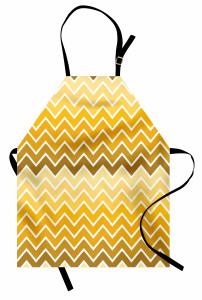 Sarı Zikzaklı Mutfak Önlüğü Sarı Şık Tasarım Trend