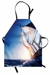 Yelkenli ile Gökyüzü Mutfak Önlüğü Mavi