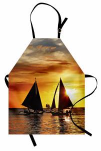 Yelkenli ve Gün Batımı Temalı Mutfak Önlüğü Sanatsal