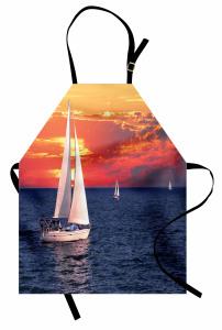 Gün Batımı ve Yelkenli Mutfak Önlüğü Bulutlu