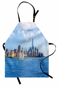 Beyaz Yelkenli Gökdelen Mutfak Önlüğü Modern