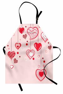 Açık Pembe Fonlu Kalp Mutfak Önlüğü Romantik