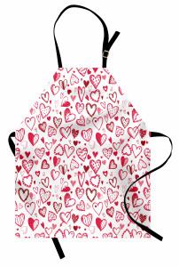 Pembe Kalp ve Ok Desenli Mutfak Önlüğü Şık Çeyizlik