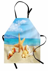 Deniz Yıldızı ve Plaj Mutfak Önlüğü Bej Mavi