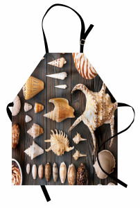Deniz Kabuğu Desenli Mutfak Önlüğü Ahşap Arka Plan