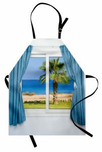 Pencere Deniz Manzaralı Mutfak Önlüğü Beyaz Mavi