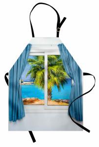Pencere Deniz Palmiye Mutfak Önlüğü Mavi