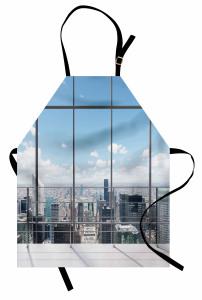 Pencere ve Gökdelen Mutfak Önlüğü Modern Dizayn