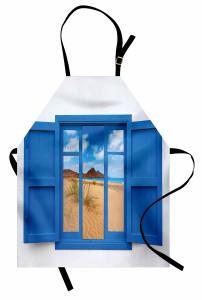Pencerede Kumsal Deniz Mutfak Önlüğü Mavi