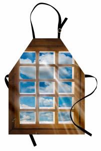 Pencere ve Gökyüzü Mutfak Önlüğü Ahşap ve Mavi