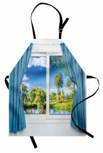 Pencere Göl Manzaralı Mutfak Önlüğü Mavi Yeşil