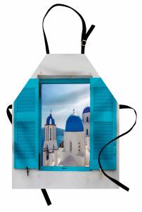 Evde Kilise Manzaralı Mutfak Önlüğü Beyaz Mavi