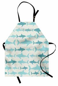 Mavi Köpek Balığı Mutfak Önlüğü Beyaz Arka Plan