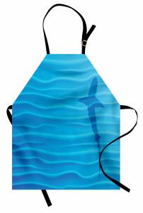Köpek Balığı ve Dalgalar Desenli Mutfak Önlüğü Mavi