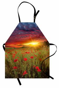 Gelincik ve Gün Batımı Mutfak Önlüğü Mor