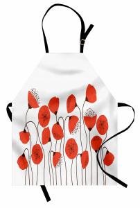 Gelincik Çiçeği Desenli Mutfak Önlüğü Şık Tasarım