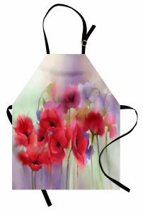 Pembe Gelincik Desenli Mutfak Önlüğü Çeyizlik Çiçek