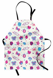 Kızlar İçin Mutfak Önlüğü Pembe Mavi Kelebek Kedi