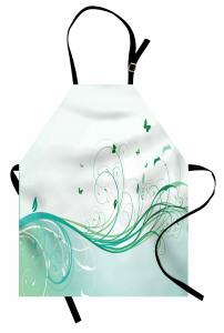 Yeşil Kelebek Desenli Mutfak Önlüğü Çiçekli Çeyizlik