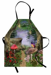 Büyülü Orman Temalı Mutfak Önlüğü Kelebek Mantar