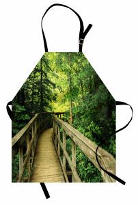 Ormandaki Ahşap Yol Mutfak Önlüğü Yeşil Doğa