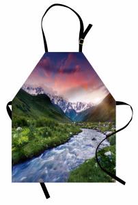 Nehir ve Karlı Dağlar Mutfak Önlüğü Gökyüzü