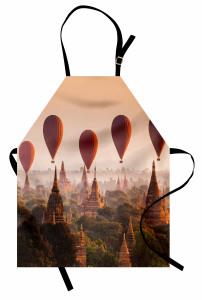 Tapınak ve Balon Temalı Mutfak Önlüğü Gökyüzü Turuncu