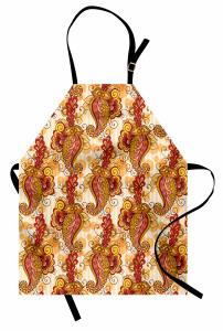 Turuncu ve Sarı Çiçek Mutfak Önlüğü Şık