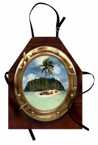 Issız Ada Temalı Mutfak Önlüğü Gemi Deniz Palmiye