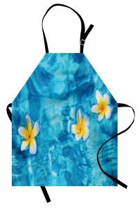 Sudaki Çiçek Temalı Mutfak Önlüğü Doğada Huzur Mavi