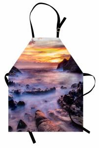 Plajda Gün Doğumu Mutfak Önlüğü Romantik Şık