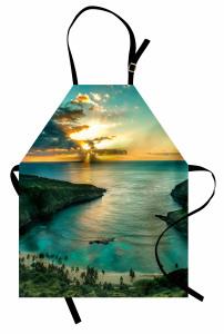 Doğada Huzur Temalı Mutfak Önlüğü Gün Doğumu Deniz