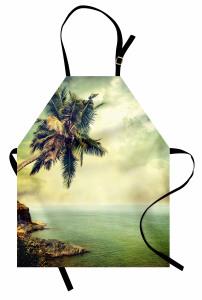 Ada Palmiye Manzaralı Mutfak Önlüğü Nostaljik Deniz