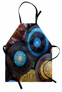 Mavi Çiçek Motifli Mutfak Önlüğü Otantik Şık Tasarım