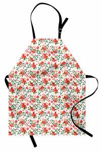 Kırmızı Çiçek Desenli Mutfak Önlüğü Yaprak Şık Tasarım