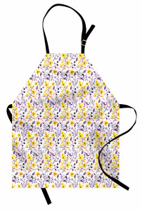 Sulu Boya Etkili Mutfak Önlüğü Çiçek Desenli Çeyizlik
