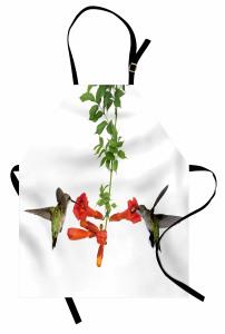 Kırmızı Çiçek ve Kuş Mutfak Önlüğü Çeyizlik