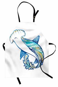 Köpek Balığı Desenli Mutfak Önlüğü Mavi Deniz Temalı