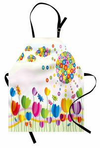 Rengarenk Laleler Mutfak Önlüğü Şık Tasarım