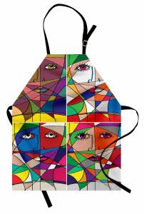 Kadın Yüzü Temalı Mutfak Önlüğü Rengarenk Sanat Eseri