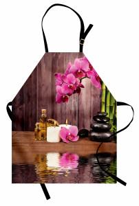 Sağlık Temalı Mutfak Önlüğü Pembe Çiçek SPA Masaj