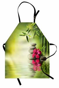 Sağlık Temalı Mutfak Önlüğü Masaj Bambu Kırmızı Çiçek