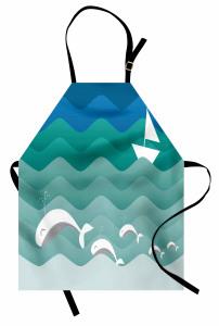Dalga ve Balık Desenli Mutfak Önlüğü Mavi Deniz Gemi