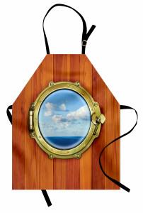 Gemi Desenli Mutfak Önlüğü Ahşap Arka Plan Şık Tasarım