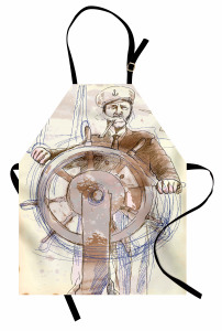 Denizci Temalı Mutfak Önlüğü Elle Çizim Şık Tasarım