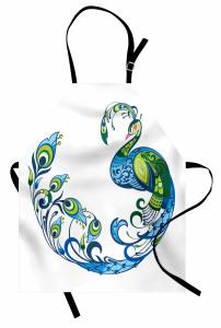 Tavus Kuşu Desenli Mutfak Önlüğü Şık Lacivert Yeşil